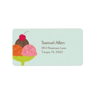 Ice Cream Sundae Birthday Address Label (Blue) Personalized Address Label