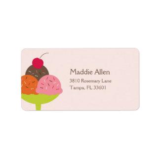 Ice Cream Sundae Birthday Address Label (Pink)