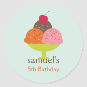 Ice Cream Sundae Birthday Favor Stickers (Blue)