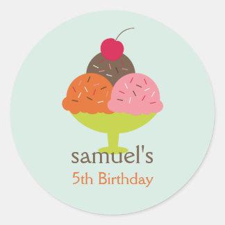 Ice Cream Sundae Birthday Favor Stickers (Blue) Round Sticker