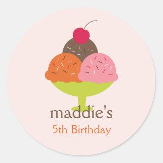 Ice Cream Sundae Birthday Favor Stickers (Pink)