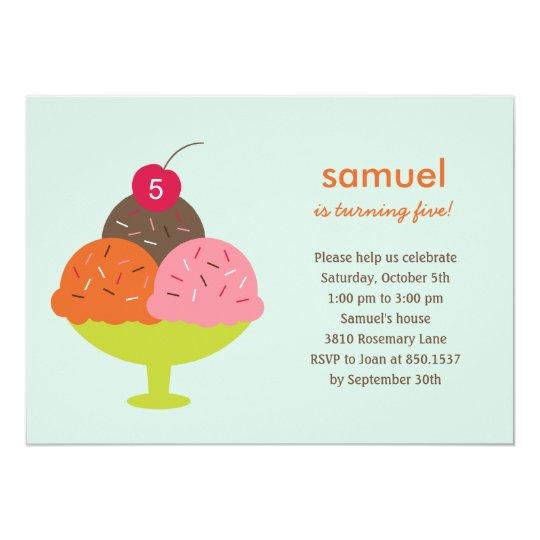 Ice Cream Sundae Birthday Party Invitation (Blue)