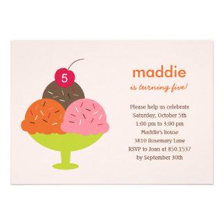 Ice Cream Sundae Birthday Party Invitation (Pink) Cards