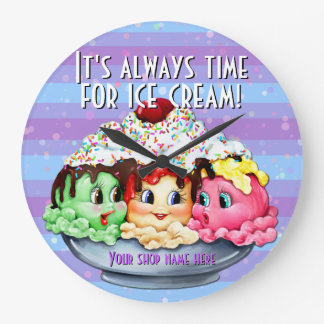 Ice cream sundae hand painted clock shop decor