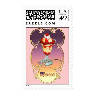 Ice Cream Sundae Raspberry Postage Stamps