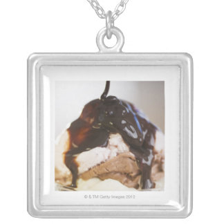 Ice cream sundae silver plated necklace