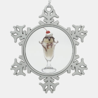 Ice Cream Sundae Snowflake Pewter Christmas Ornament