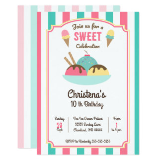 Ice Cream Sundae Social Birthday Party Invitation