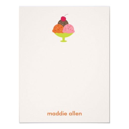 "Ice Cream Sundae Thank You Cards (Pink) 4.25"" X 5.5"" Invitation Card"