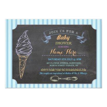 Toddler & Baby themed Ice Cream Sweet Baby Shower Chalk Stripe Invite