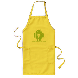 Ice Cream Thoughts Inside (Android Bug Droid) Long Apron