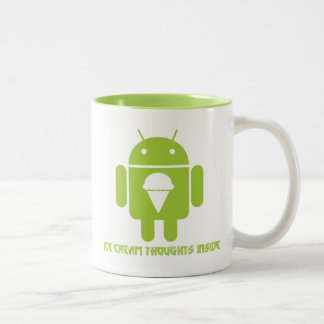 Ice Cream Thoughts Inside (Android Bug Droid) Two-Tone Coffee Mug