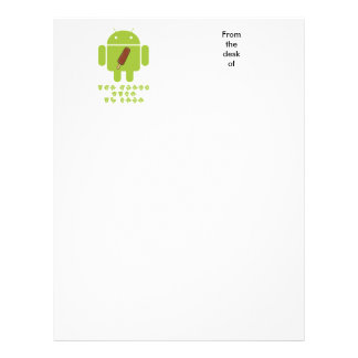 Ice Cream Time Is Here (Bug Droid Android) Letterhead
