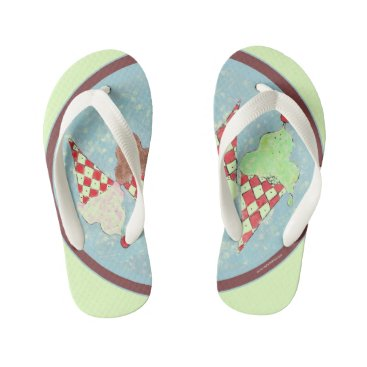 Beach Themed Ice Cream Treat Kid's Flip Flops