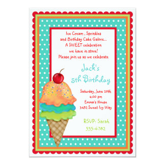 "Ice Cream Treats Birthday  Boy Invitations 5"" X 7"" Invitation Card"