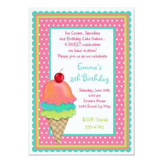 """Ice Cream Treats Birthday Invitations 5"""" X 7"""" Invitation Card"""