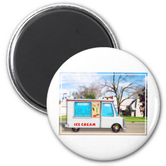 Ice Cream Truck in the Street 2 Inch Round Magnet
