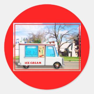 Ice Cream Truck in the Street Classic Round Sticker