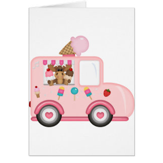 Ice Cream truck with moose Greeting Card