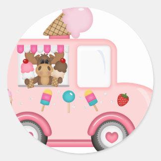 Ice Cream truck with moose Classic Round Sticker