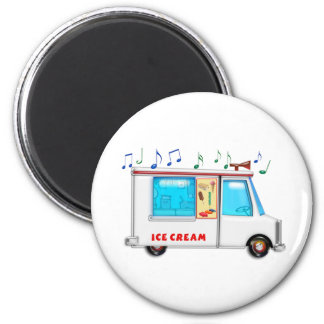 Ice Cream Truck with Music 2 Inch Round Magnet