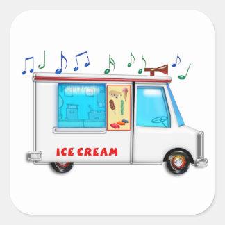 Ice Cream Truck with Music Square Sticker