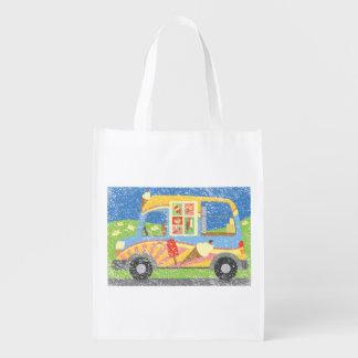 Ice Cream Van Worn Look Reuseable Grocery Bag