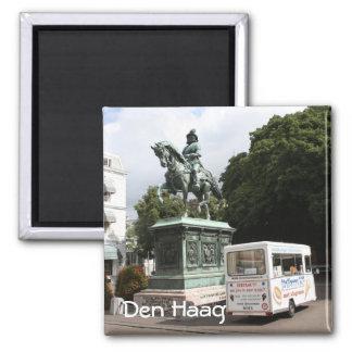 Ice cream vendor and statue 2 inch square magnet