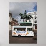 Ice cream vendor and statue poster