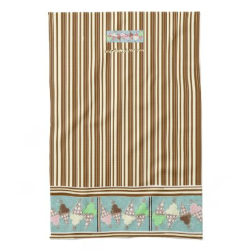 Beach Themed Ice Cream Vertical Stripe Hand Towel