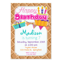Ice Cream Waffle Cone Pattern Invitation