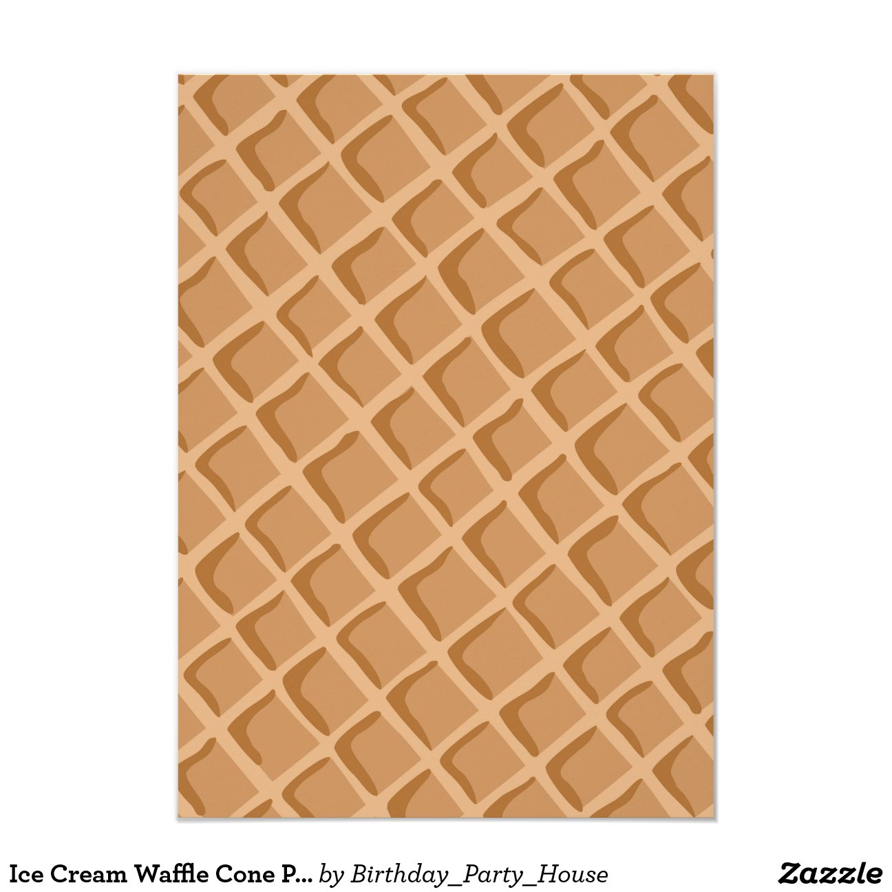 Ice Cream Waffle Cone Pattern 4 5x6 25 Paper Invitation