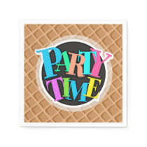 Ice Cream Waffle Cone Pattern Paper Napkin