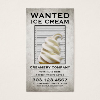 ice cream wanted poster business card