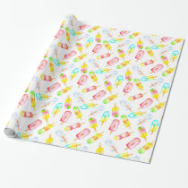 Ice cream watercolour pattern. Hello summer! Wrapping Paper
