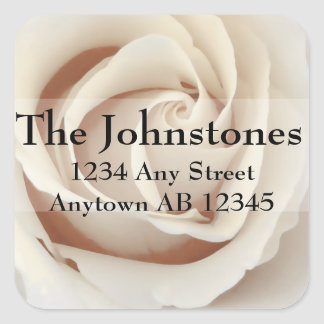 Ice Cream White Roses Wedding Return Address Square Sticker