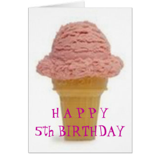 "ICE CREAM WISHES FOR ""5th"" BIRTHDAY Card"