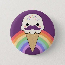 Round Button with Cute Kawaii Mustache design