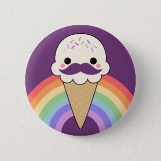Ice Cream with Mustache Pinback Button