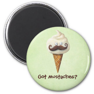 Ice Cream with Mustaches 2 Inch Round Magnet