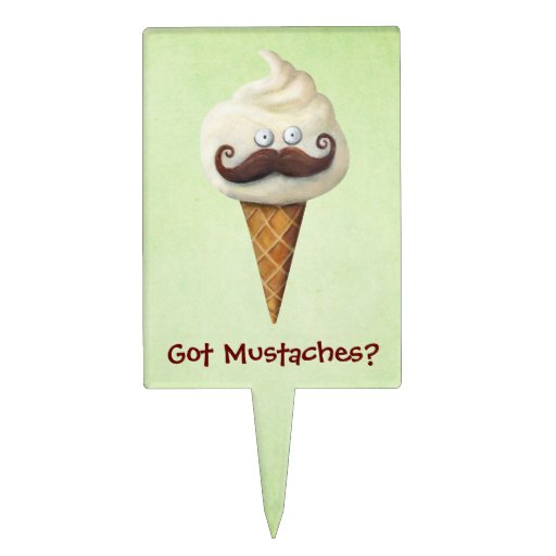 Ice Cream with Mustaches Cake Pick