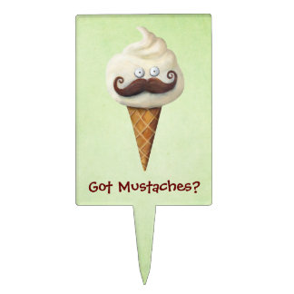 Ice Cream with Mustaches Cake Topper