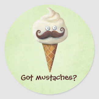 Ice Cream with Mustaches Classic Round Sticker