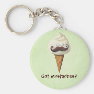 Ice Cream with Mustaches Keychains