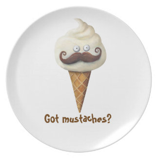 Ice Cream with Mustaches Melamine Plate