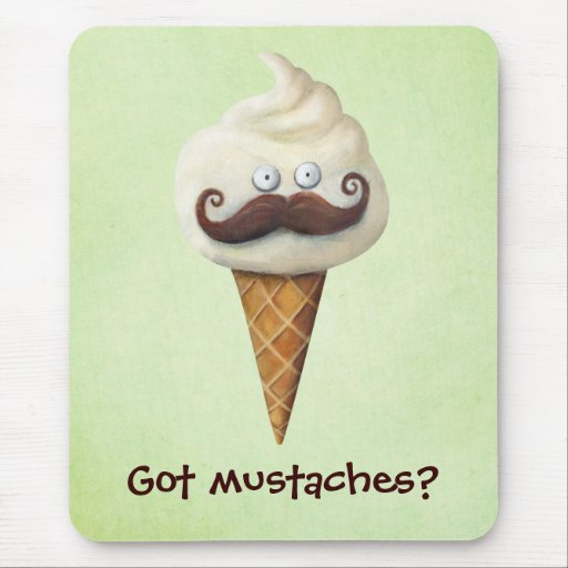 Ice Cream with Mustaches Mouse Pad