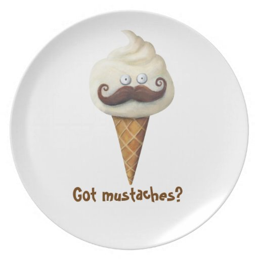 Ice Cream with Mustaches Plates
