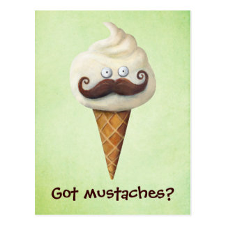 Ice Cream with Mustaches Postcard