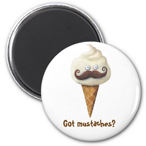 Ice Cream with Mustaches Refrigerator Magnets