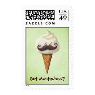 Ice Cream with Mustaches Stamp